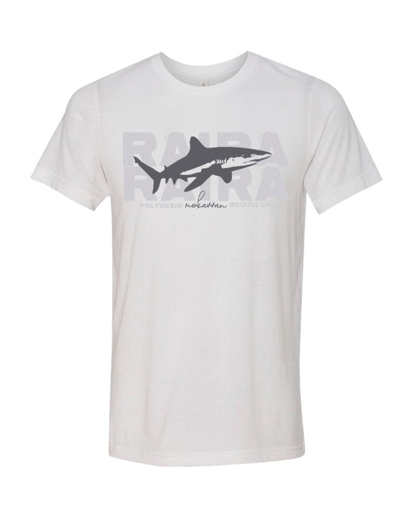 t-shirt blanc requin gris