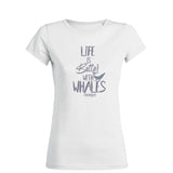 Dark gray diving t-shirt for women life is better with whale white