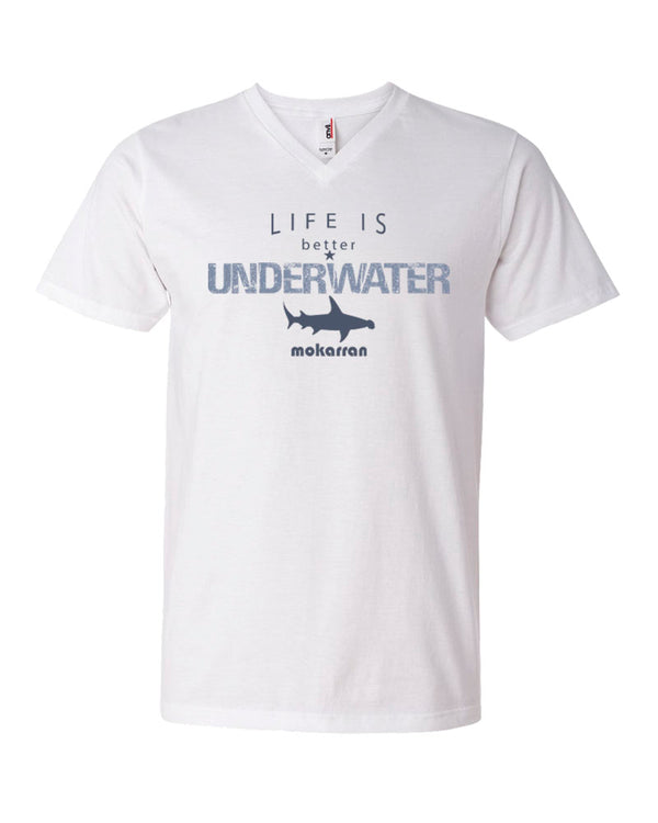 Tee shirt plongée col v homme life is better underwater blanc