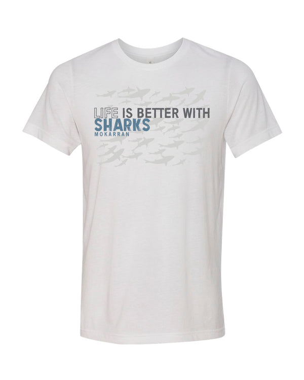 Tee shirt plongée blanc requin pour homme Life is Better with sharks