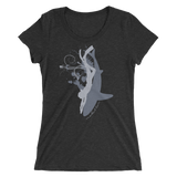 Women's freediving t-shirt with wide neck shark and diver black