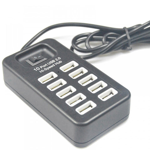 10 Port USB 2.0 USB Charger with On/Off Switch Portable Multi