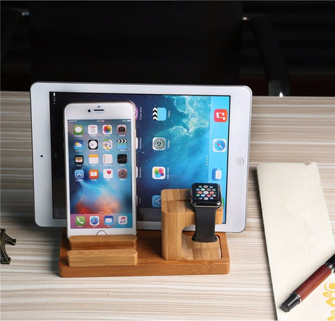 3 in 1 Natural Bamboo Wood Desktop Charging Dock, for Tablet Apple Watch Cellphone IPhone Android
