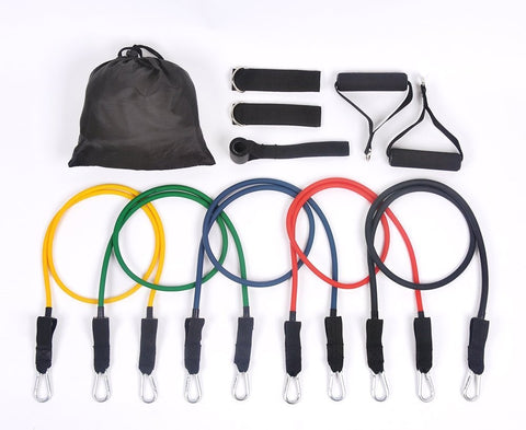 11 Piece Resistant Band Set Fitness Exercise