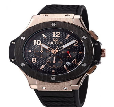 Megir Watch Mens Luxury Brand Big Dial Casual Quartz Wrist Rose Gold