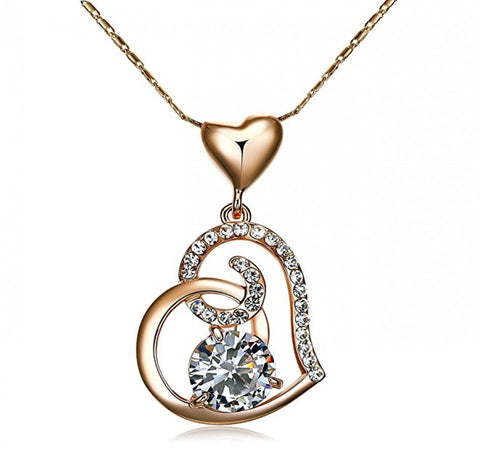 Azora Rose Gold Color Stellux Crystals Heart Pendant Necklace