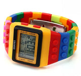 Unisex Colorful Block Brick Style LED Digital Wristwatch