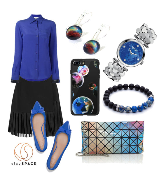 Aurora Earrings with Blue Outfit