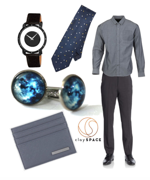 Blue Galaxy Men's Cuff links & Slate Workwear
