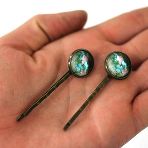 Blue And Pink Flowers 14mm Antique Bronze Bobby Pins