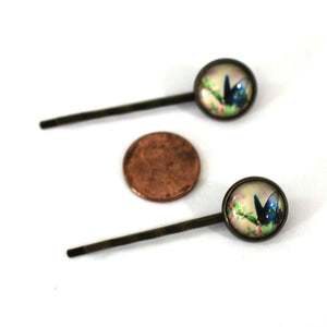 Blue Butterly 14mm Antique Bronze Bobby Pins