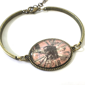 Bookmark - Arc De Triomphe Vintage Map Bracelet