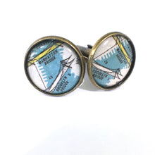 Load image into Gallery viewer, Bookmark - Brooklyn Bridge Vintage Map Cufflinks
