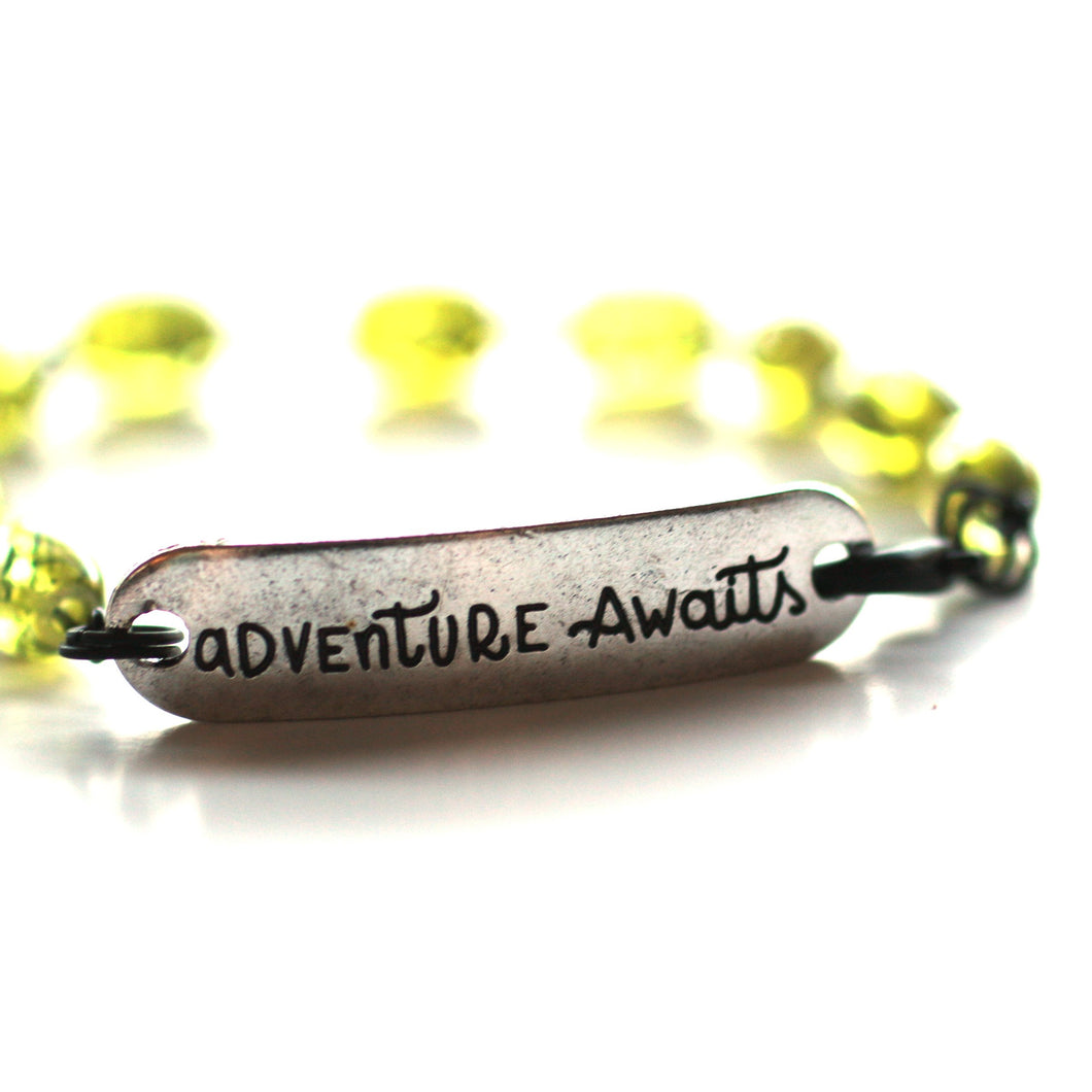 Bracelet - Adventure Awaits Quote Bracelet // Green Glass Bead Bracelet // Motivational Gift