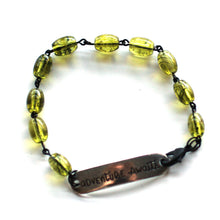 Load image into Gallery viewer, Bracelet - Adventure Awaits Quote Bracelet // Green Glass Bead Bracelet // Motivational Gift
