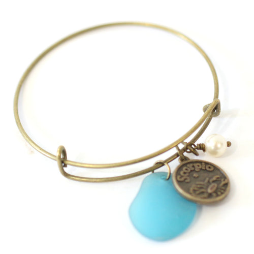 Bracelet - Antique Brass Scorpio Bracelet - Blue Sea Glass, Swarovski Pearl And Antique Bronze - Simple Zodiac Accessory - One Size Fits All - Zodiacharm - Clay Space