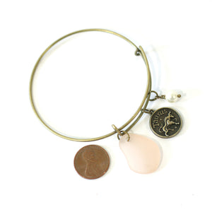Bracelet - Antique Brass Taurus Bracelet - Pink Sea Glass, Swarovski Pearl And Antique Bronze - Simple Zodiac Accessory - One Size Fits All - Zodiacharm - Clay Space