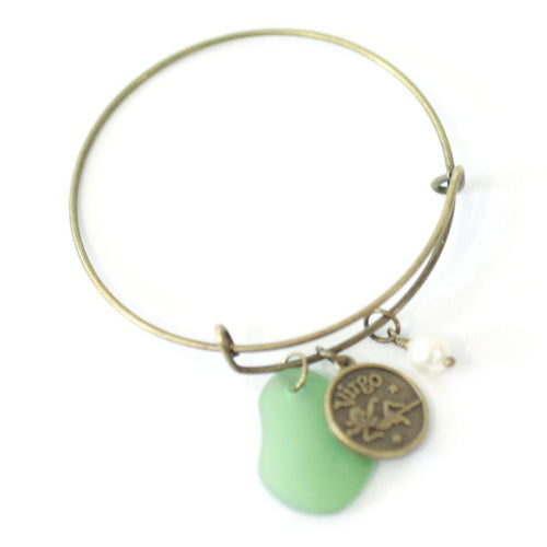 Bracelet - Antique Brass Virgo Bracelet - Green Sea Glass, Swarovski Pearl And Antique Bronze - Simple Zodiac Fashion Accessory - One Size Fits All - Zodiacharm - Clay Space