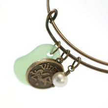 Load image into Gallery viewer, Bracelet - Antique Brass Virgo Bracelet - Green Sea Glass, Swarovski Pearl And Antique Bronze - Simple Zodiac Fashion Accessory - One Size Fits All - Zodiacharm - Clay Space