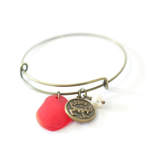 Bracelet - Bronze Aries Bracelet - Red Sea Glass, Swarovski Pearl And Antique Brass - Simple Zodiac Accessory - One Size Fits All - Zodiacharm - Clay Space