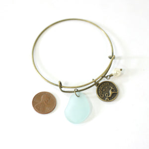 Bracelet - Bronze Capricorn Bracelet - Light Blue Sea Glass, Swarovski Pearl And Antique Brass - Simple Zodiac Accessory - One Size Fits All - Zodiacharm - Clay Space