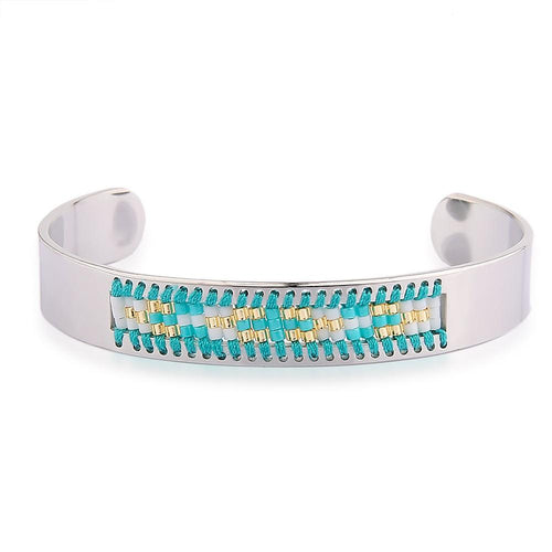 Bracelet - Diamond Shaman's Eye Turquoise And Gold Seed Tribal Bead Bangle