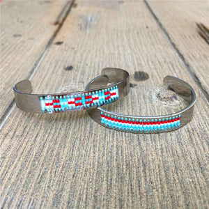 Bracelet - Diamond Shaman's Eye Turquoise And Red Seed Tribal Bead Bangle