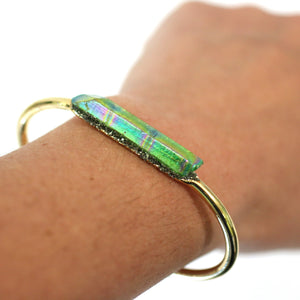 Bracelet - Green Raw Aurora Crystal 24k Gold Plated Bangle