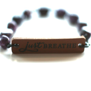 Bracelet - Just Breathe Quote Bracelet // Delicate Beaded Bracelet // Motivational Gift
