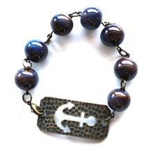 Load image into Gallery viewer, Bracelet - Large Anchor Bracelet // Blue Ceramic Bead Bracelet // Motivational Gift