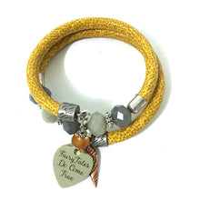 Load image into Gallery viewer, Bracelet - Leather And Glass Boho Wrap Bracelet - Yellow, Glass And Antique Silver - Leather And Gray Glass Beads - One Size Fits All - Wrappy Collection - Clay Space