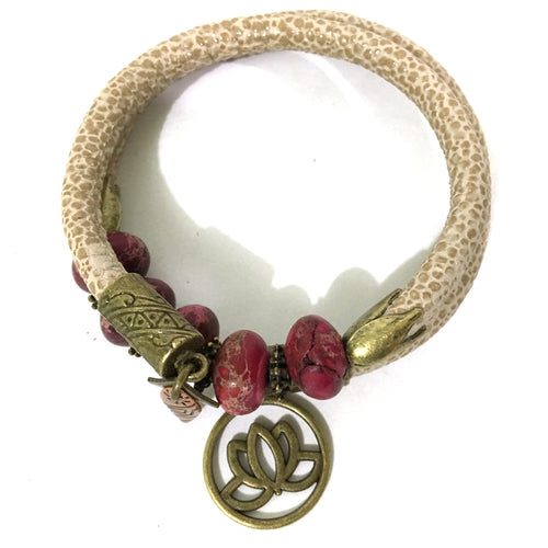 Bracelet - Leather And Jasper Wrap Bracelet - Beige, Fuchsia Jasper And Antique Bronze - Leather And Fuchsia Terra Jasper Beads - One Size Fits All - Wrappy Collection - Clay Space
