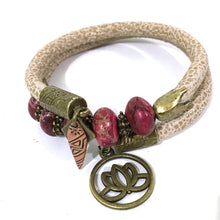 Load image into Gallery viewer, Bracelet - Leather And Jasper Wrap Bracelet - Beige, Fuchsia Jasper And Antique Bronze - Leather And Fuchsia Terra Jasper Beads - One Size Fits All - Wrappy Collection - Clay Space