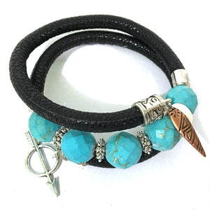 Bracelet - Leather And Turquoise Wrap Bracelet - Black, Turquoise And Silver - Leather And Faceted Turquoise Beads - One Size Fits All - Wrappy Collection - Clay Space