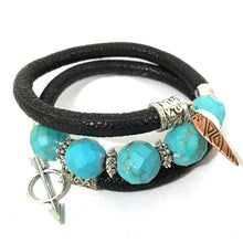 Load image into Gallery viewer, Bracelet - Leather And Turquoise Wrap Bracelet - Black, Turquoise And Silver - Leather And Faceted Turquoise Beads - One Size Fits All - Wrappy Collection - Clay Space
