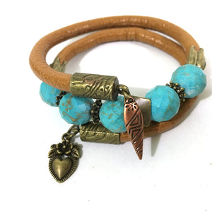 Bracelet - Leather And Turquoise Wrap Bracelet - Tan, Turquoise And Antique Bronze - Leather And Faceted Turquoise Beads - One Size Fits All - Wrappy Collection - Clay Space
