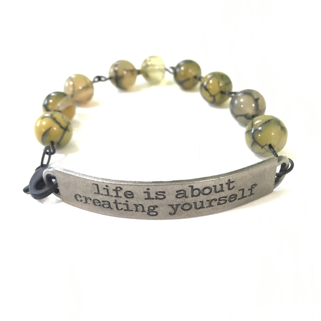 Bracelet - Life Is About Creating Yourself Quote Bracelet // Motivational Gift
