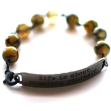 Load image into Gallery viewer, Bracelet - Life Is About Creating Yourself Quote Bracelet // Motivational Gift
