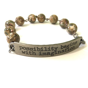 Bracelet - Possibility Begins With Imagination Quote Bracelet // Inspirational Jewelry // Gift For Her