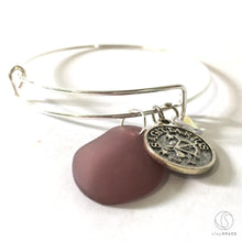 Load image into Gallery viewer, Bracelet - Silver Sagittarius Bracelet - Purple Sea Glass, Swarovski Teardrop And Antique Silver - Simple Zodiac Accessory - One Size Fits All - Zodiacharm - Clay Space