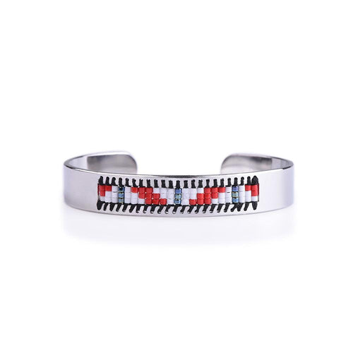 Bracelet - Tribal Black And Red Seed Tribal Bead Bangle