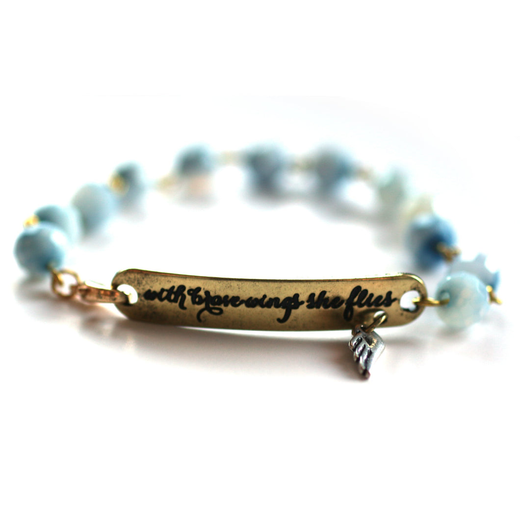 Bracelet - With Brave Wings She Flies Bracelet // Delicate Gemstone Bead Bracelet // Motivational Gift