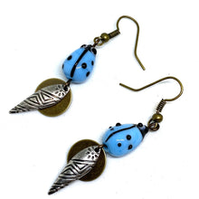 Load image into Gallery viewer, Earrings - Blue Lady Bug Dangle Earrings