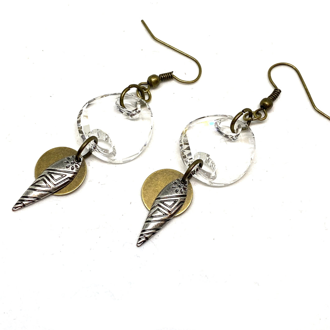 Earrings - Clear Crystal Tribal Dangle Earrings