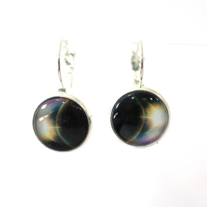 Earrings - Earth From Space 14mm Glass Dome Cabochon Dangle Earrings
