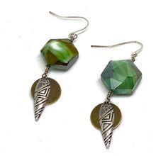 Load image into Gallery viewer, Earrings - Green Glass Geometric Tribal Dangle Earrings