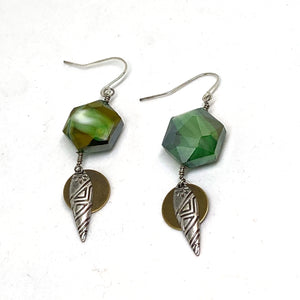Earrings - Green Glass Geometric Tribal Dangle Earrings