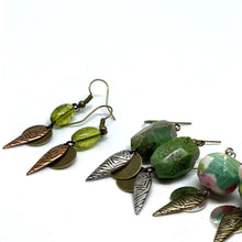 Load image into Gallery viewer, Earrings - Lime Green Retro Inspired Glass Bead Tribal Earrings