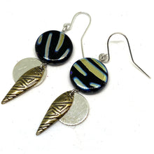 Load image into Gallery viewer, Earrings - Metallic Zebra Tribal Beaded Dangle Earrings