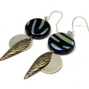 Earrings - Metallic Zebra Tribal Beaded Dangle Earrings